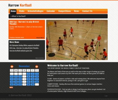 Harrow Korfball Website Design
